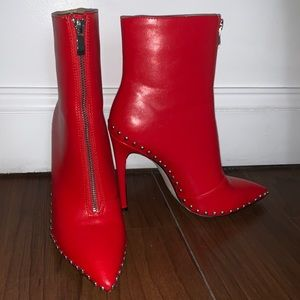 fashion nova red heel booties